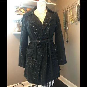 The Limited Black and Tan crochet trench coat